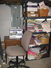 Sewing Machine and Fabric Stash Cleaned Up